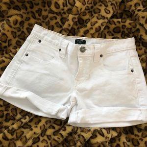 J Crew white jean shorts.